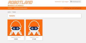 Robotland online ticketsysteem